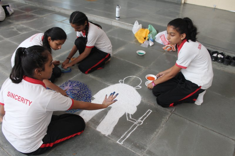 Inter House Rangoli Making